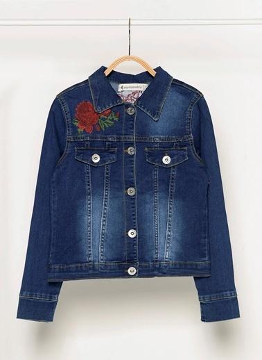 Morhipo Kids Çiçek Nakışlı Jean Ceket İndigo